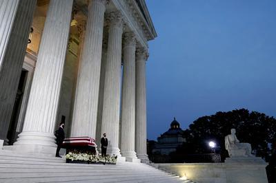 Ruth Bader Ginsburg lies in repose at Supreme Court