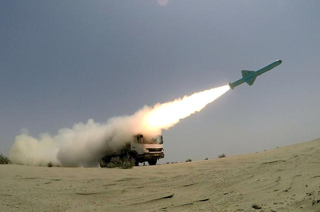 FILE PHOTO: An Iranian locally made cruise missile is fired during war games in the northern Indian Ocean and near the entrance to the Gulf, Iran June 17, 2020. WANA (West Asia News Agency) via REUTERS