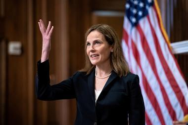 FILE PHOTO: Barrett meets with U.S. senators ahead of vote on her...