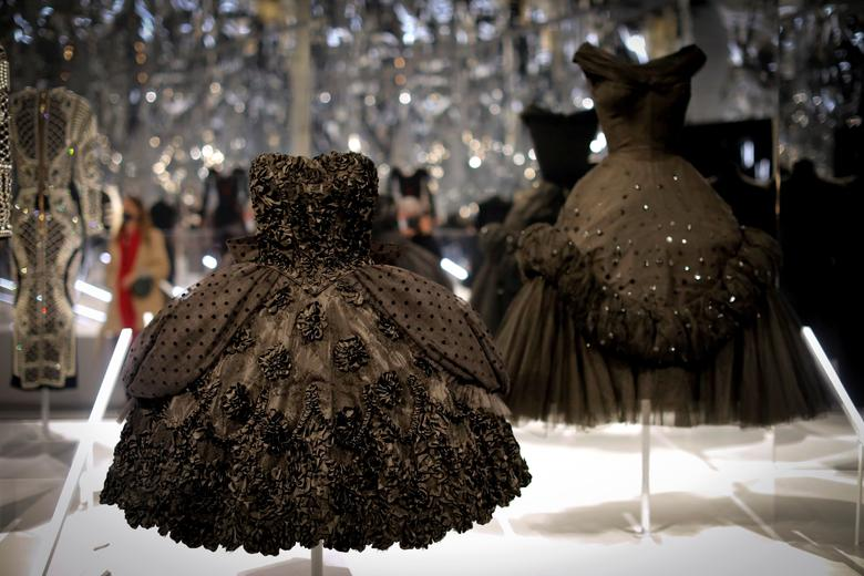 """Creations are displayed at The Costume Institute's upcoming exhibition """"About Time: Fashion and Duration"""" during a press preview at the Metropolitan Museum of Art in Manhattan, New York, October 26, 2020. REUTERS/Mike Segar"""