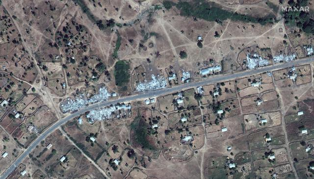An overview of destroyed buildings near Dansha airport in Dansha, Ethiopia, is seen in this satellite image taken November 18, 2020 and supplied by Maxar Technologies.  ©2020 MAXAR TECHNOLOGIES/Handout via REUTERS