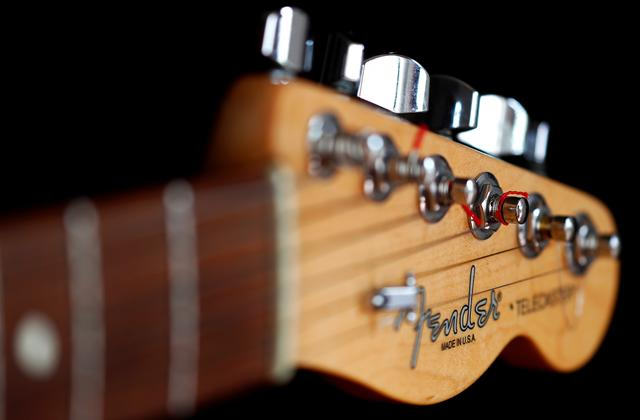 A detail of a ''Made in USA'' Fender Telecaster model electric guitar is pictured in Rome, Italy August 15, 2018. REUTERS/Max Rossi
