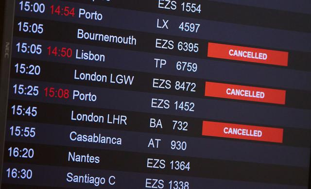 FILE PHOTO: Flights from Britain are announced cancelled at Cointrin airport, the day the Swiss government imposed a 10 days quarantine for travellers who have entered from Britain, during the outbreak of the coronavirus disease (COVID-19) in Geneva, Switzerland, December 21, 2020. REUTERS/Denis Balibouse/File Photo
