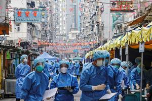 Hong Kong neighborhood locked down after COVID outbreak