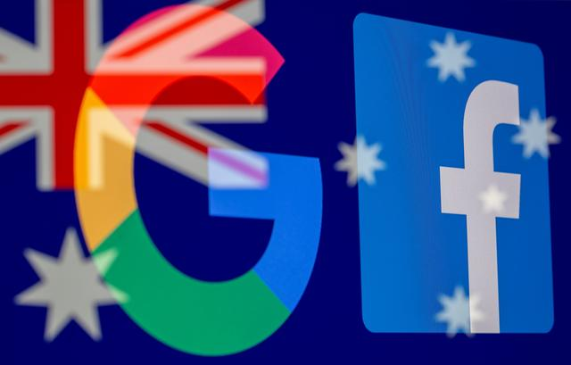 FILE PHOTO: Google and Facebook logos and Australian flag are displayed in this illustration taken, February 18, 2021. REUTERS/Dado Ruvic/Illustration