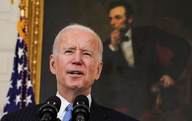 U.S. President Biden speaks about the administration's coronavirus response...