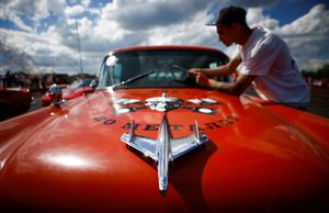 American muscle cars drag race near Moscow