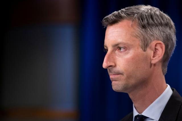 U.S. State Department spokesperson Ned Price pauses while speaking during a briefing at the State Department in Washington, DC, U.S. August 2, 2021. Brendan Smialowski/Pool via REUTERS