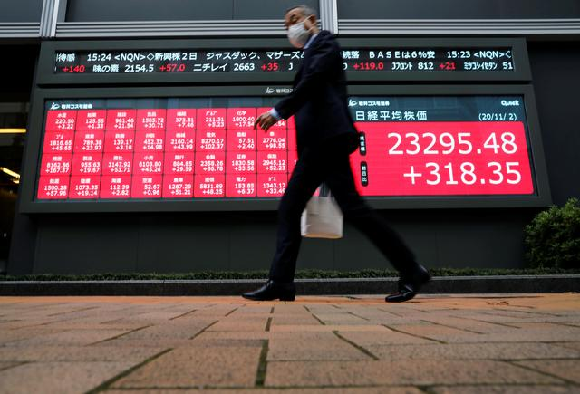 FILE PHOTO: A man wearing a protective face mask walks past a stock quotation board outside a brokerage, amid the coronavirus disease (COVID-19) outbreak, in Tokyo, Japan November 2, 2020. REUTERS/Issei Kato