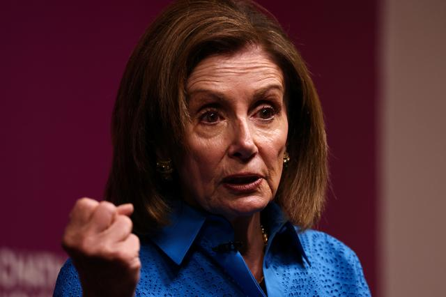 U.S. House Speaker Nancy Pelosi speaks on ''state of American democracy'' during an event at Chatham House in London, Britain September 17, 2021. REUTERS/Tom Nicholson
